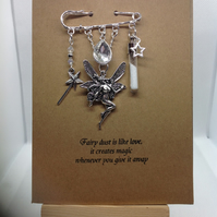 Hand made Kilt pin brooch, fairy themed, attached to A6 Kraft card
