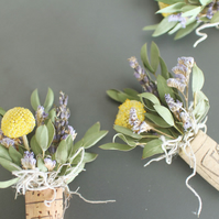Dried flowers in wine corks fridge magnets