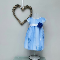 12-18 months Blue Summer Dress. Child Birthday Dress. Infant Wedding Wear.