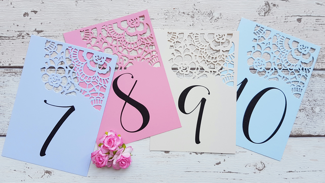 Wedding Table Number Cards Signs. Lace Laser Cut Style. Pack of 10. Pastel.