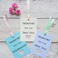 10 Rustic Wedding Reserved Sign Tags with Heart Cut Out. Pastel or Kraft