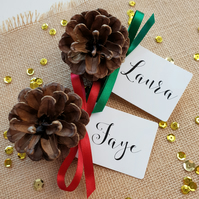 Christmas Place Cards, Pine Cone Place Cards, Traditional Christmas Decor.