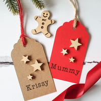 Christmas Gift Tags with Wooden Stars. Christmas Gift Wrap.
