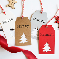 Handmade Christmas Gift Tags in a Scandi Style with Tree Cut Out.