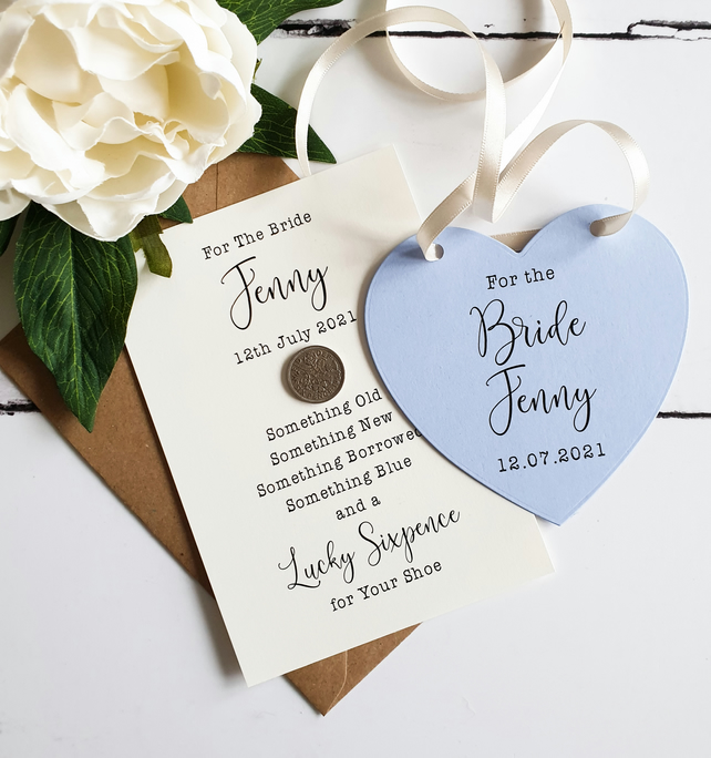 Bride Gift Set Lucky Sixpence and Something Blue Dress Hanger Tag