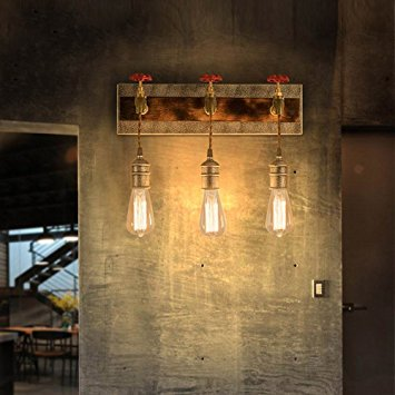 Industrial Loft Metal Water Pipe Wall Light with Exposed Edison Bulb (3-Light)