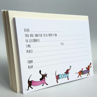 Party Invitation, Dachshund invitations, Sausage Dogs, Childrens invites