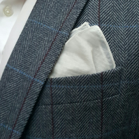 White Sailcloth Pocket Square (Classic White Rolled Hem Trim)