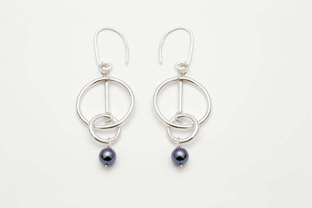 Consuela by Fedha - statement sterling silver and black pearl earrings