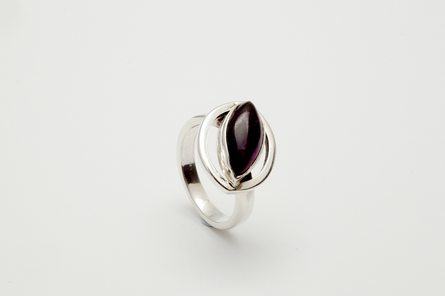 Luciana by Fedha - marquise-shaped amethyst and silver ring, bespoke setting