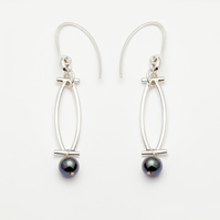 Sofia by Fedha - statement sterling silver and black pearl earrings
