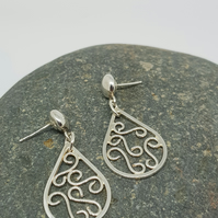 Ariana by Fedha - sterling silver filigree dangles with stud fastening