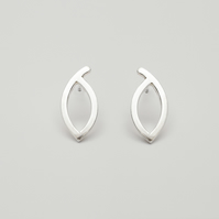 Miro by Fedha - asymmetric marquise-shaped sterling silver stud earrings