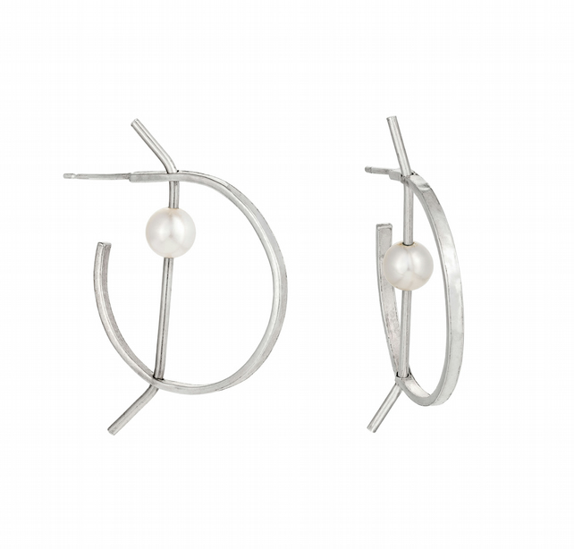 Perla by Fedha - sterling silver and cultured pearl statement hoop earrings