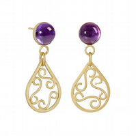 Lagrima by Fedha - amethyst-set filigree dangles in 24 carat gold-plated silver