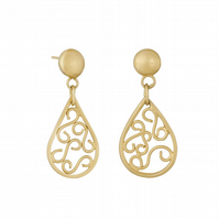 Corazon by Fedha - teardrop filigree dangles in 24 carat gold-plated silver