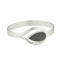 Maricela by Fedha - elegant sterling silver and slate bangle