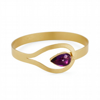 Giralda by Fedha - stylish amethyst bangle in 24 carat gold-plated silver