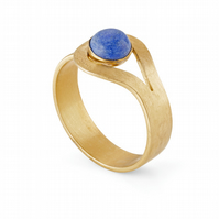 Guadalupe by Fedha - lapis lazuli wrap-around ring in 24ct gold-plated silver