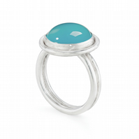 Garbina by Fedha - silver and blue chalcedony cocktail ring
