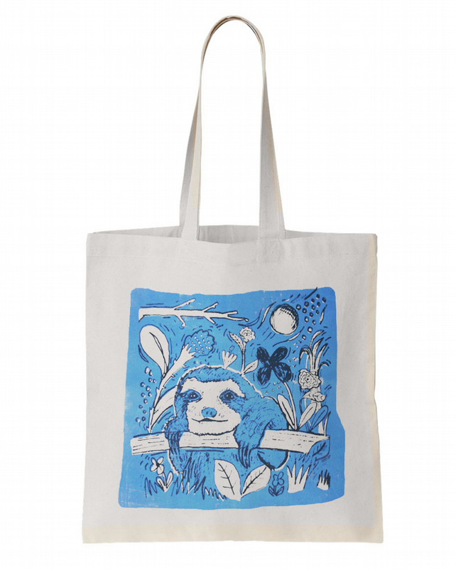 Sloth Screen Printed Tote Bag