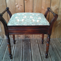 Edwardian Piano, Solo Box Stool in William Morris fabric