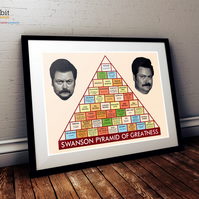Ron Swanson's Pyramid of Greatness print- Parks & Recreation 16x12""