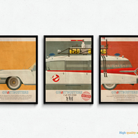 Set of Ghostbusters Movie Prints - Ecto 1 Car Mondo Style Poster Artwork