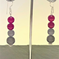 Red and Grey Dyed Quartz Earrings
