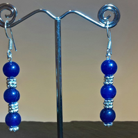 Blue Dyed Quartz Earrings