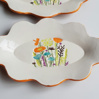 Fun Flower Print Ceramic Serving Platter