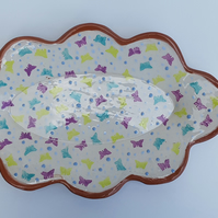 Fun Butterfly Print Ceramic Serving Platter