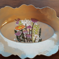 Fun Flower Print Ceramic Blue Serving Platter