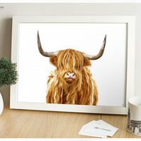 Scottish Highland Cow - Modern Digital Painting