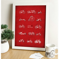 Bicycle Digital Print - Love My Bicycle (Red)