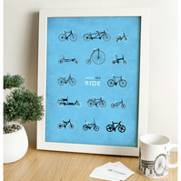 Bicycle Digital Print - Enjoy The Ride (Blue)