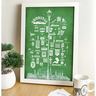 Edinburgh Signs Art Print (Green)