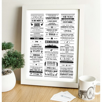 Edinburgh Facts Print (Black & White)