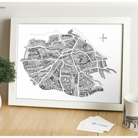 Edinburgh Word Map (Black & White)