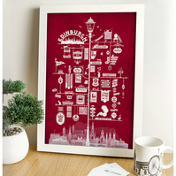 Edinburgh Signs Art Print (Red)