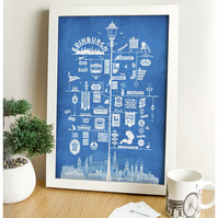 Edinburgh Signs Art Print (Blue)