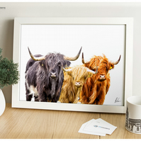 3 Scottish Highland Cows - Modern Digital Painting