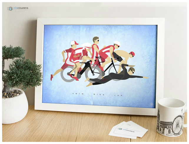 Triathlon, Ironman Print - Bike, Swim, Run