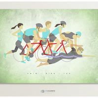 Triathlon Print, Ironman - Swim, Bike, Run, Cycle, Triathlon Gift