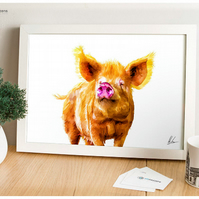 Pig, Tamworth Painting, Pig Print, Pig Illustration, Farm Animal Print