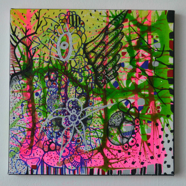 Original Bright Gothic Psychedelic Nature Art Gift,Modern Neon Home Art Gift