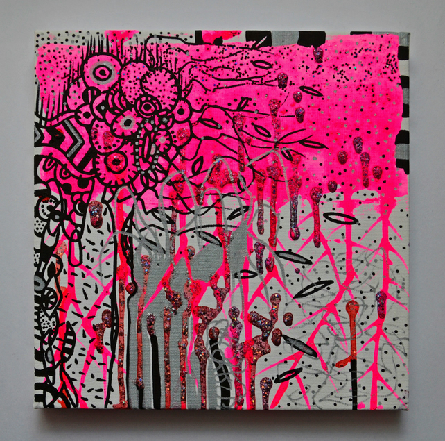 Original  UV Gothic Psychedelic Plant Forms Art Gift, Modern Neon Art Gift