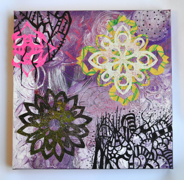 Original Bright Bold Gothic Psychedelic Wall Art Gift,Modern Creepy Home Decor