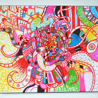 Original Bright Gothic Psychedelic Home Decor Gift,Red,Green,Blue,Pink Art