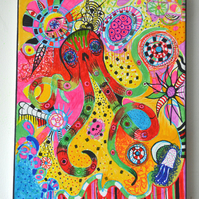 Original Bright Gothic Psychedelic Home Decor Gift,Red,Green,Red,Octopus Art
